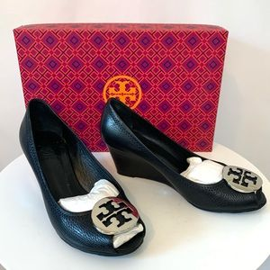 Tory Burch Black sally 2-tumbled leather wedges